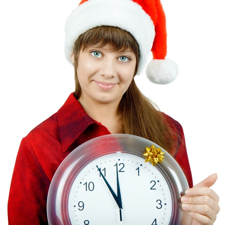 Santa girl with the clock on an isolated white background photo