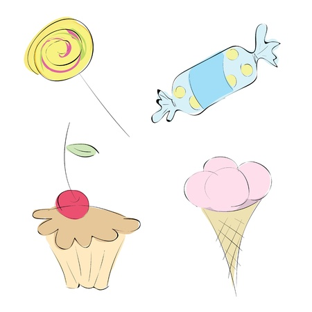Vector images in a variety of sweets. Set: candy, mini-cake, ice cream and caramel Vector