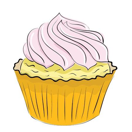 cake met slagroom op een witte achtergrond. Vector illustratie.