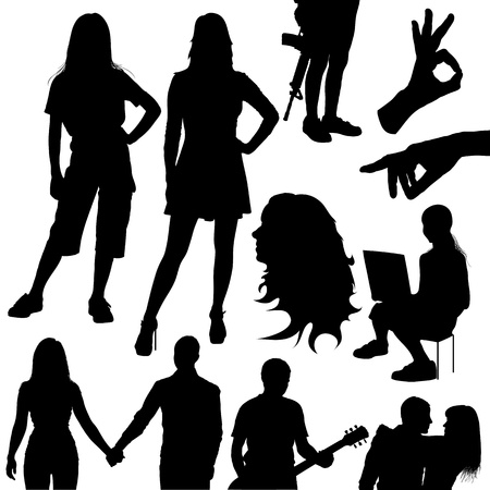set of various silhouettes of people on white background Vector