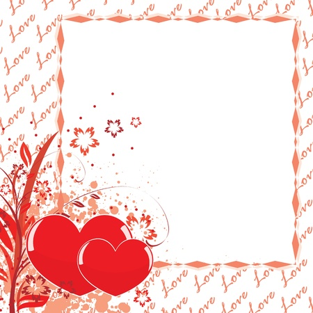 Postcard to Valentine's Day. Frame decorated with flowers and hearts Stock Vector - 12020253