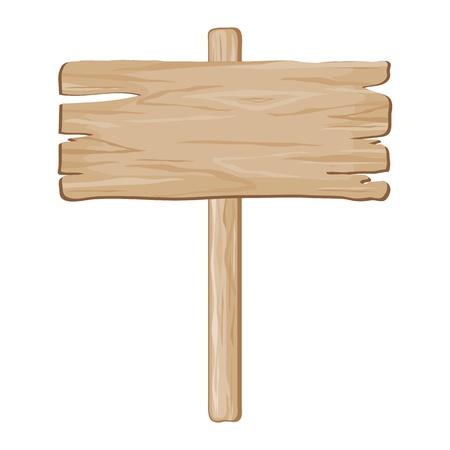 letreros: vector de se�al de tablero de madera sobre un fondo blanco