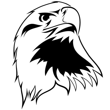 eagle head: stylized image of an eagle. Black and white tattoo Illustration
