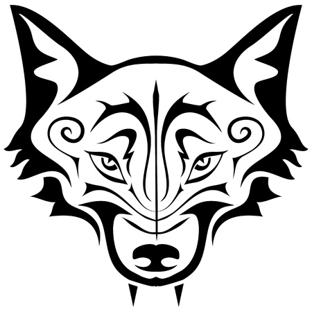 Black gothic tattoo. The head of a wolf on a white background Vector