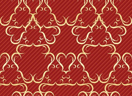 wallpaper. Gold seamless pattern on a red background with stripes Stock Vector - 13593143