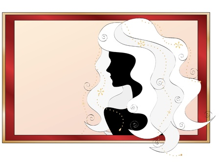 strand of hair: fashionable silhouette of a girl with long curly white hair Illustration