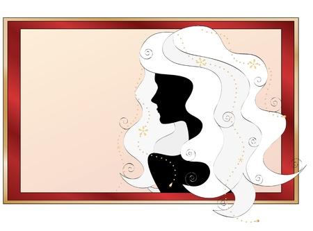 modische Silhouette eines Mädchens mit langen lockigen weißen Haaren