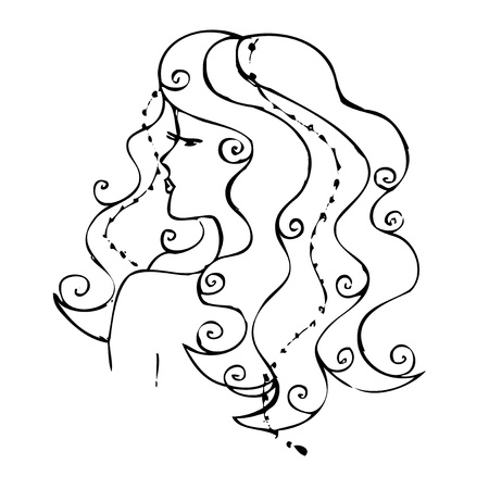 drawing  A girl with long hair  A sketch on a white background Stock Photo - 13693374