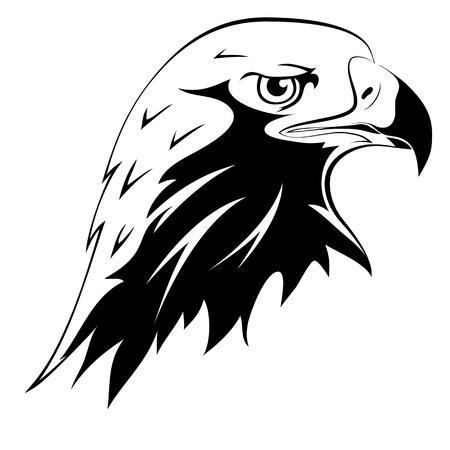 野生の捕食者。入れ墨。鷲の頭の黒いシルエット  イラスト・ベクター素材