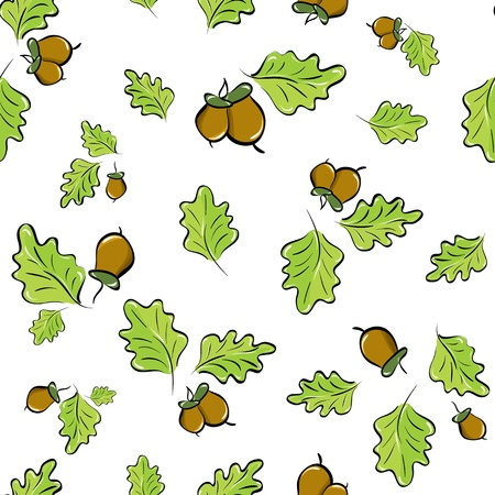 vector seamless background with oak leaves and acorns Vector