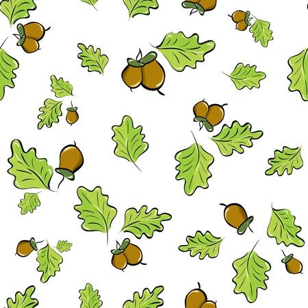 foglie di quercia: vettore sfondo senza soluzione di continuit� con foglie di quercia e ghiande