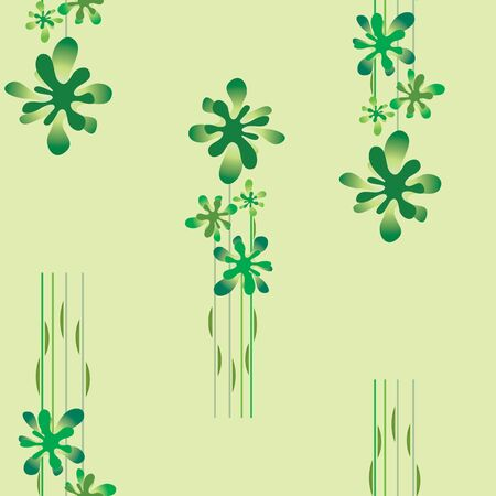 seamless wallpaper with a green floral pattern on a green background Vector