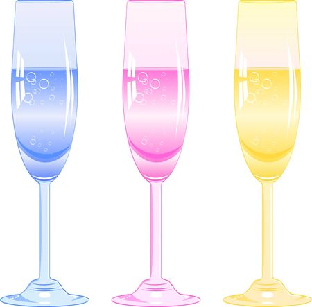 fizzy: three glasses of fizzy drink of different colors. Vector illustration