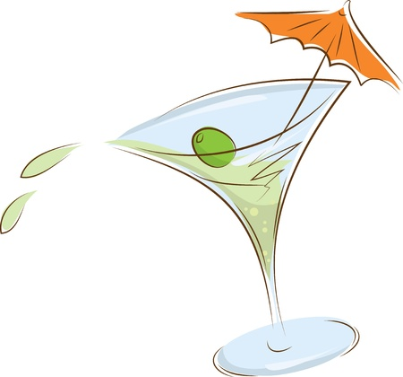 mixed drink: tilted glass of martini olives and cocktail umbrella
