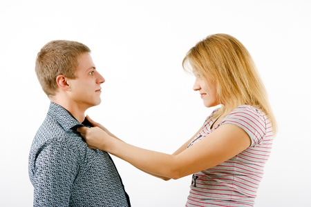 tussle: Violence in the family. Wife beats husband