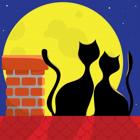 roof tile: love the cats on the roof of a full moon
