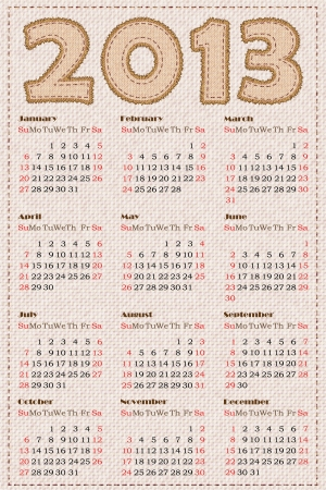 Calendar 2013. Vector illustration. Simulation of fabric texture Vector