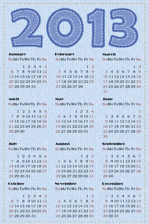 Calendar 2013. illustration. Simulation of jeans texture Vector