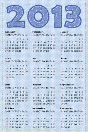 Calendario 2013. ilustraci�n. Simulaci�n de la textura de los pantalones vaqueros