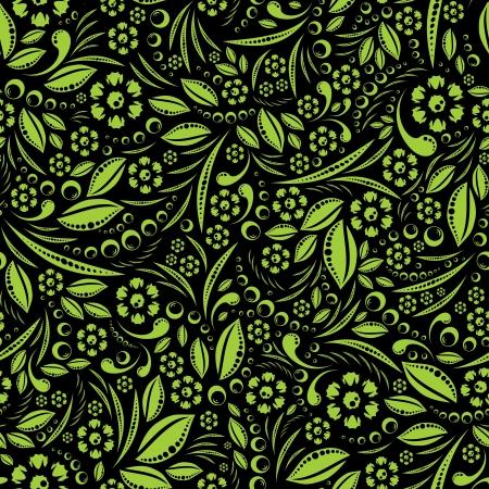 green vegetation: Seamless wallpaper. Green vegetation repeating pattern on a black background