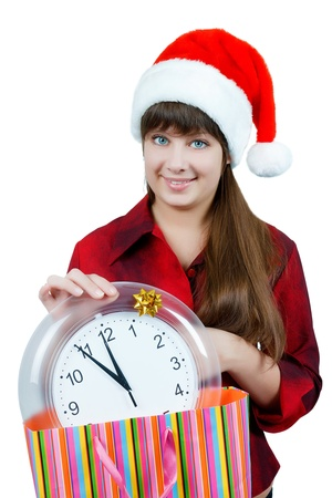 The girl on Christmas Eve with the clock Stock Photo - 14718767