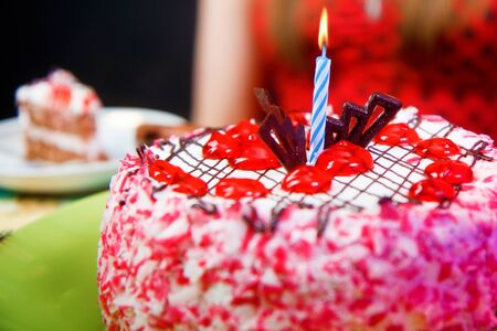 birthday cake with a lit candle. close-up Stock Photo - 14968975