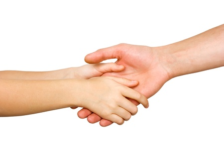 small child's hand holding on to a big hand man isolated on white background Stock Photo - 14969031