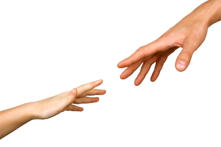 small childs hand reaches for the big hand man isolated on white background Stock Photo