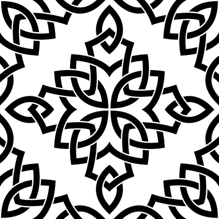 Black Celtic seamless intricate pattern on a white background Vector