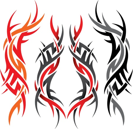 dessin tribal: ensemble de motifs gothiques de diff�rentes couleurs sur un fond blanc