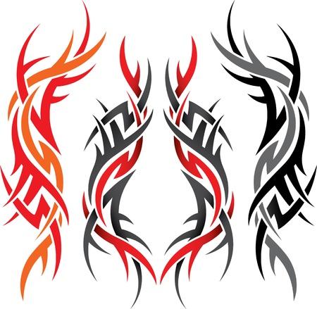 tribali: set di modelli gotici di diversi colori su uno sfondo bianco Vettoriali
