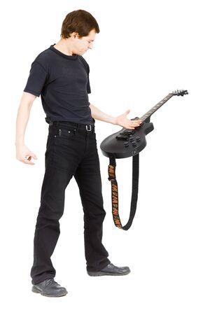 masterly: Virtuoso guitarist, dressed in black isolated white background Stock Photo