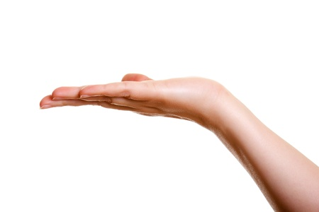 Woman's hand, palm omhoog geïsoleerd op witte achtergrond Stockfoto