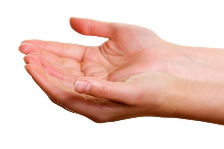 女性の手カップ アセンブリは白い背景に分離します。 写真素材