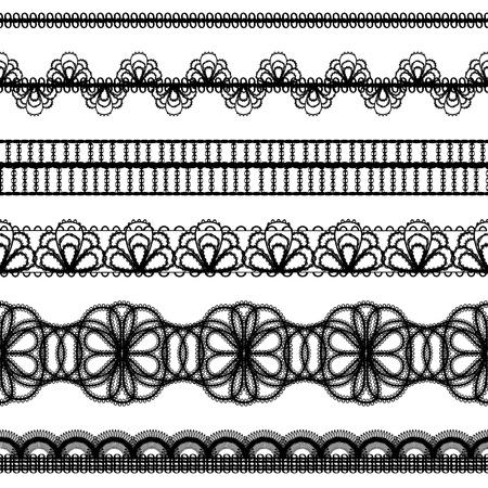 lineas horizontales: cenefas de encaje elementos de dise�o establecido Vectores
