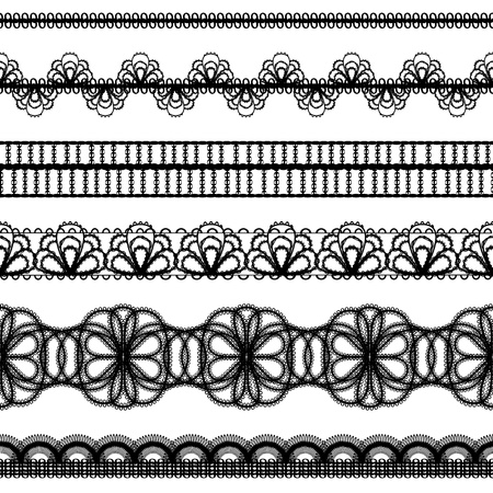 lace borders design elements  set Vector