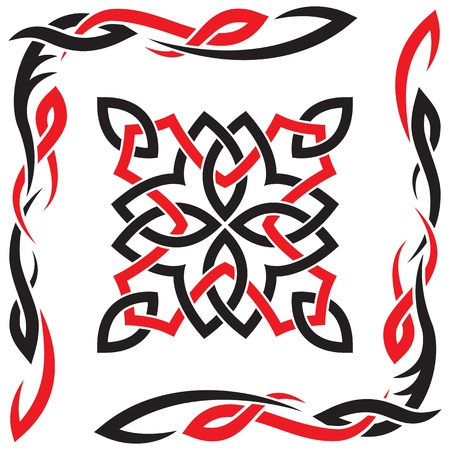 celtic symbol: Celtic vector black and red ornament for design