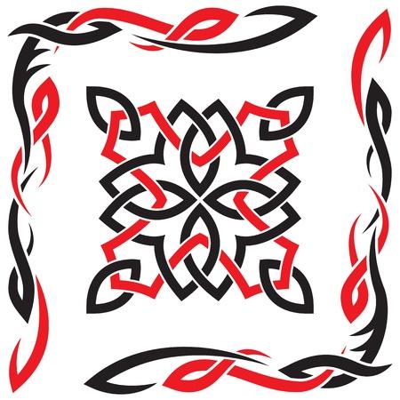 celtico: Celtico vettore nero e rosso ornamento per il design