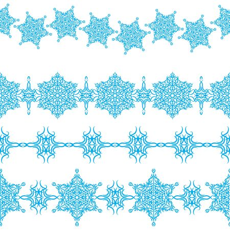 set of seamless Christmas ornaments borders Vector
