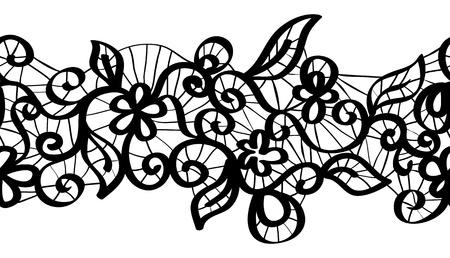 sampler: Seamless encaje negro con estampado de flores Vectores
