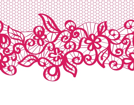seamless  red lace with floral pattern Stock Vector - 17124664