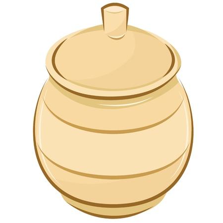 wooden pot of for honey. Editable  illustration