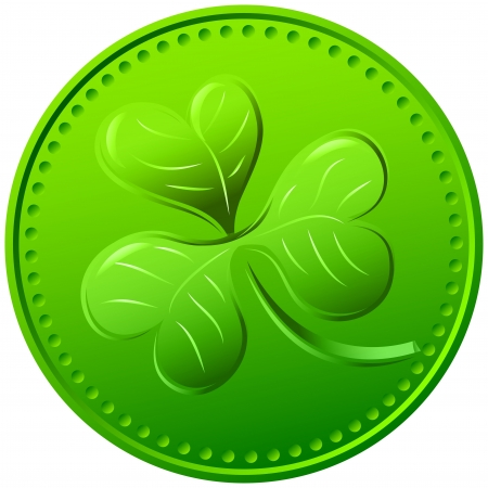 Vector green coin stamping as clover. symbol of St. Patrick's Day Stock Vector - 18148805