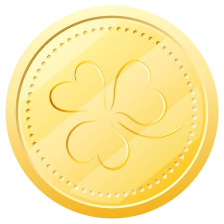 gold coin with embossed three-sheeted clover. Symbol of St. Patricks Day