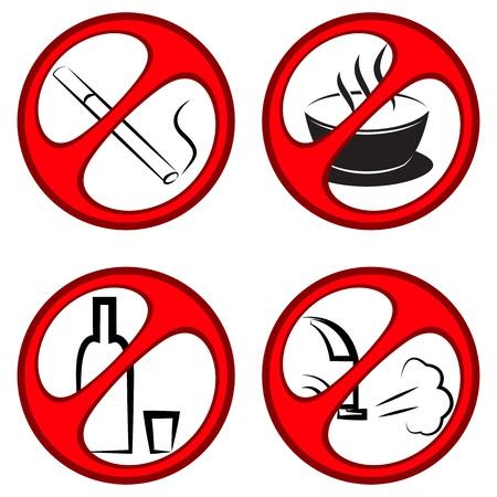 ベクトル円形禁止の標識、喫煙、アルコールの禁止排気ガスやドリンク