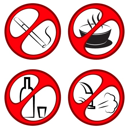 Vector round prohibiting signs  The ban on alcohol, smoking, exhaust gases and drinks