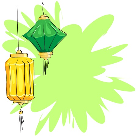 green lantern: yellow and green Chinese lantern on the abstract background Illustration