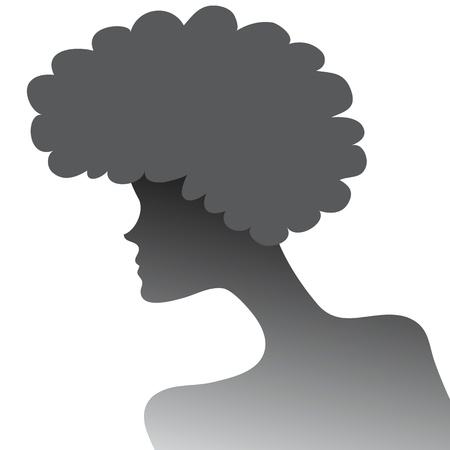 silhouette of a girl with lush hair in profile Stock Vector - 18708034