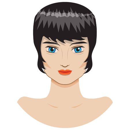 portrait of a beautiful girl with a short haircut Vector