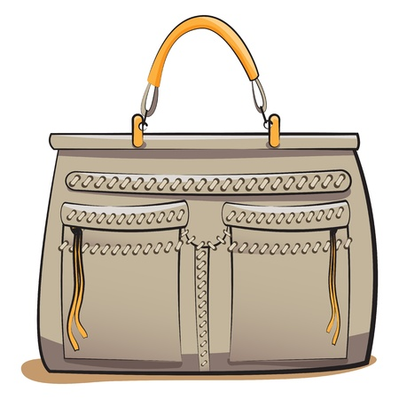 gray ladies handbag. Illustration. female accessory Vector